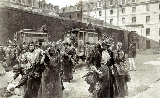 Prison Saint-Lazare - Un arrivage dans la cour de l'administration, en voitures cellulaires - 13 février 1897