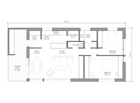 1200 sq ft door opening to living room and dining area for 1200sft floor plan