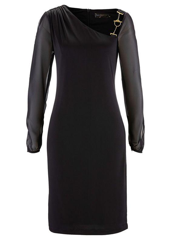 Festliches Kleid mit raffinierten Details - schwarz