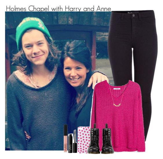 """Holmes Chapel with Harry and Anne"" by lovetini6412 ❤ liked on Polyvore featuring Pieces, MANGO, ALPHABET BAGS, Dr. Martens, Jennifer Meyer Jewelry and NARS Cosmetics"