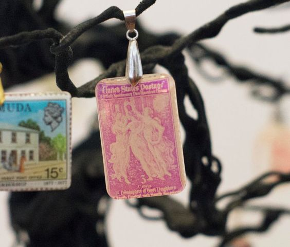 Vintage 1940 The Three Graces stamp pendant by JewelReMotion, $15.99