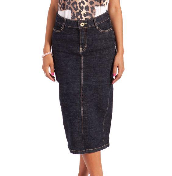 On trend black denim midi skirt - calf-length classic ladies jeans ...