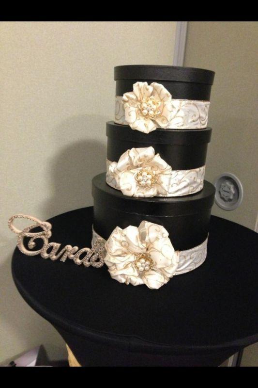 My DIY Card box : wedding black bling card box diy gold ivory IMG ...