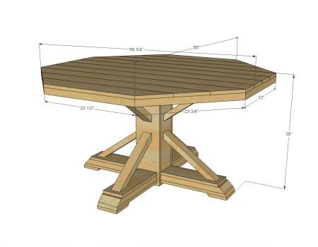 Octagon table table plans and tables on pinterest for Dining table construction