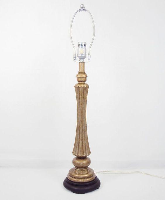 details about table desk lamp polyresin fluted column on wooden base no shade 2840290 diy. Black Bedroom Furniture Sets. Home Design Ideas