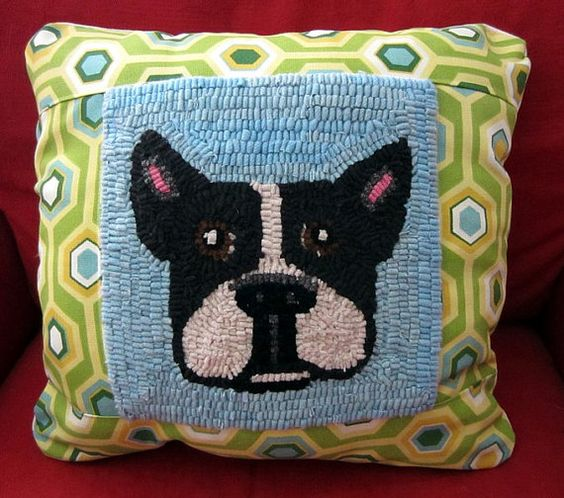 Blue Panel Hooked Rug BOSTON TERRIER Pillow by viviandaly on Etsy, $50.00