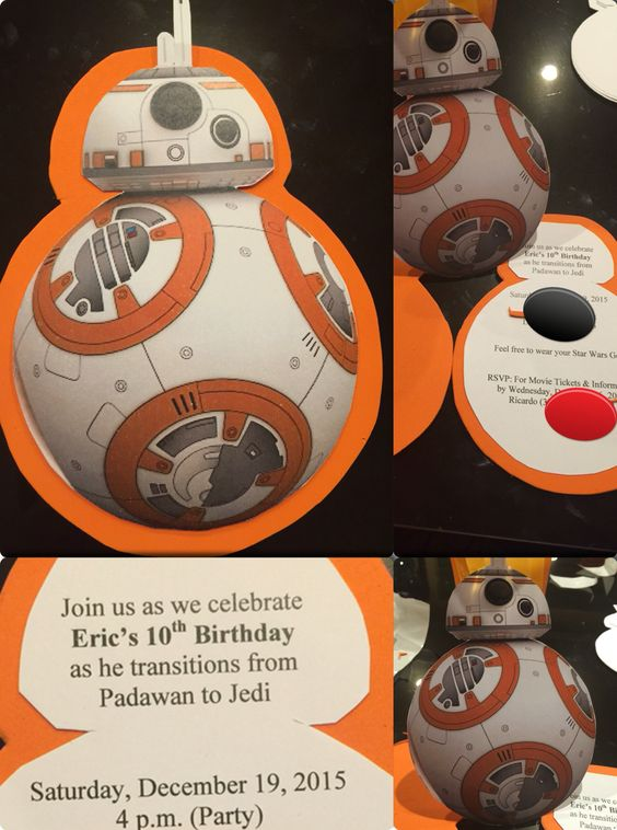 BB8 invitations. Foam paper and print out paper.