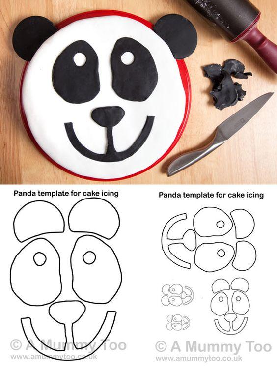 How to make a panda cake with printable template panda for Panda bear cake template