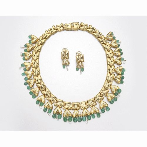 18K GOLD, EMERALD & DIAMOND NECKLACE AND EARCLIPS, LAURA MUNDER | lot | Sotheby's