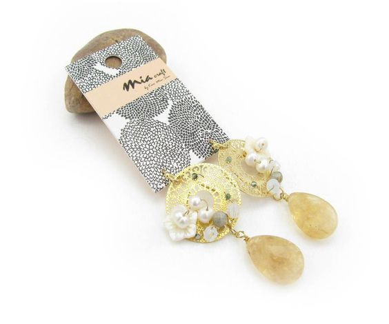 Shells And Natural Pearls Real Stone Earrings