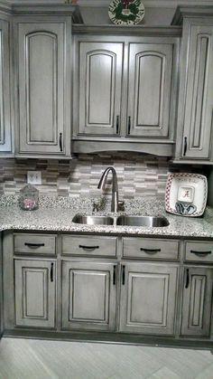 Valspar aspen gray glazed in black gorgeous work of for Aspen kitchen cabinets