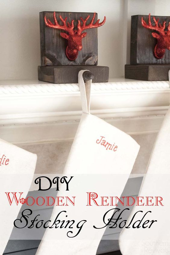 Diy Wooden Reindeer Stocking Holders Reindeer Stockings