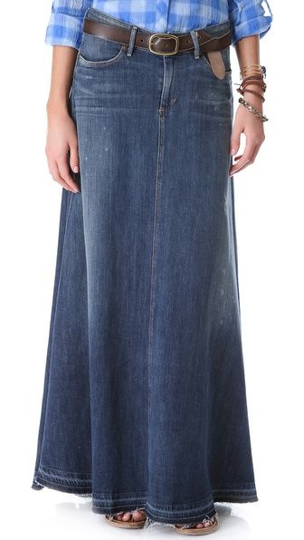Maxi style dark wash modest denim skirt. Lovely long jeans skirt ...