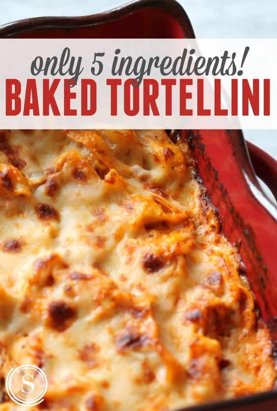 Baked Tortellini! Easy Dinner Recipe with Only 5 Ingredients!