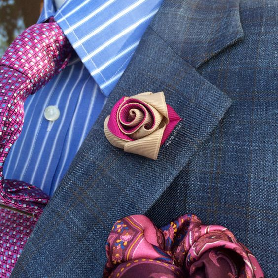Mens Lapel Flower in Azalea and Oatmeal // Mens Boutonniere // Wedding Lapel Pin // Unique Lapel Flower: