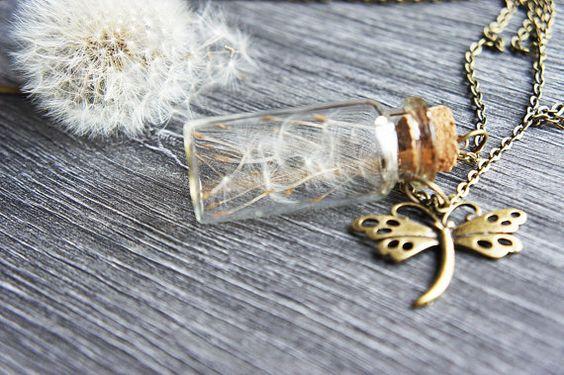 Löwenzahn Wish: Echte Halskette  Löwenzahn Glas von FinetouchBerlin