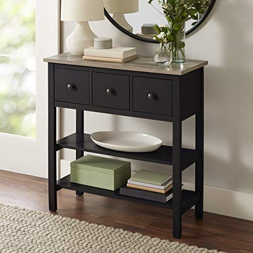 New Black Console Table Rustic Top Entryway Furniture Display