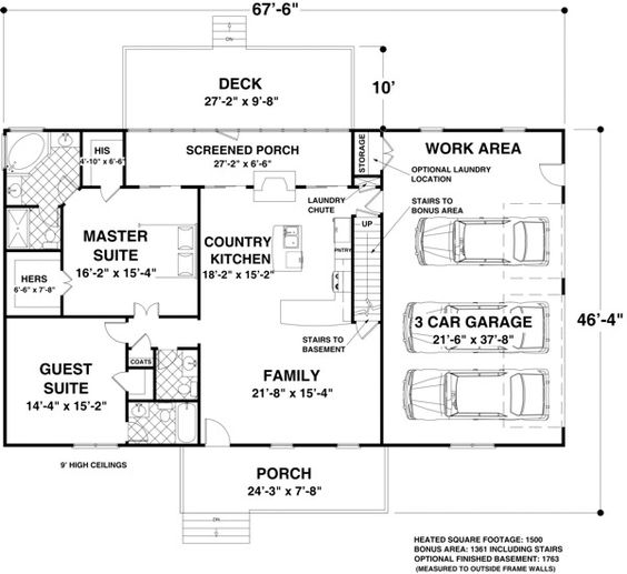 House plan 93480 house plans garage ideas and house for Ranch floor plans with basement