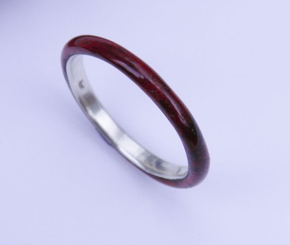 wood ring Sleek Padauk with Sterling Silver inner sleeve narrow band wood ring wood ring for her anniversary gift for her wood jewelry (55.00 USD) by WOODintheHOOD