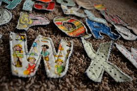 easy peasy lemon squeezy: Scrappy Fabric Letters