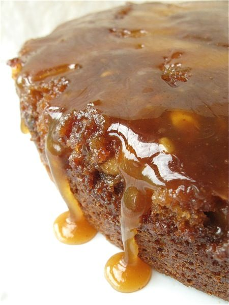 Caramel apple upside down cake. Decidedly un-vegan, but looks delicious!