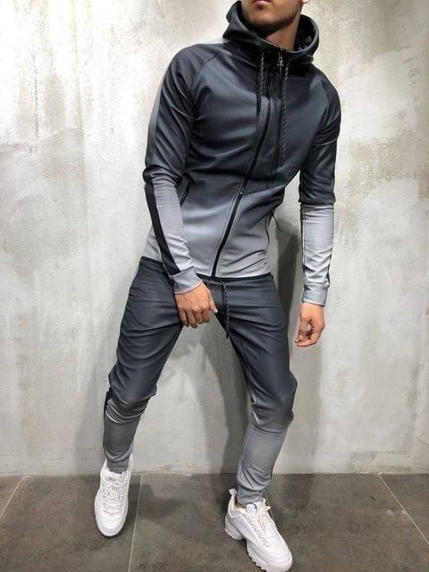 Men/'s Tracksuit Set Hoodie Sweatsuit Slim Fit Top Pants Training Gym Casual Suit