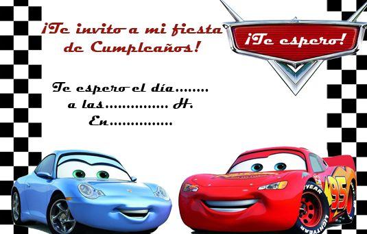 Tarjeta de cumpleaños de cars para editar Cumpleaños Santi Pinterest
