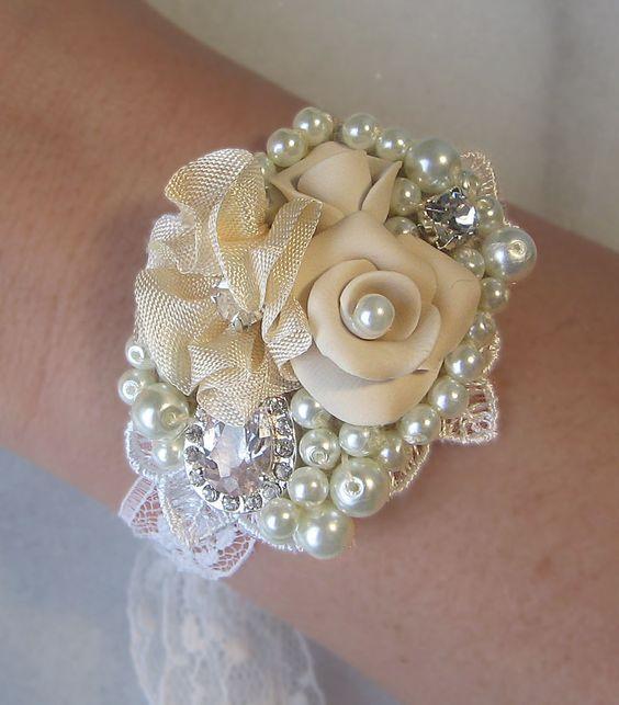 Vintage Style Bridal Cuff, Collage Bracelet, Rhinestone Pearl Bracelet, Bridal Bracelet, Shabby n Chic, Bridesmaid, Custom - LOVE LETTERS. $62.00, via Etsy.
