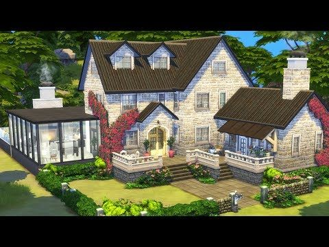 Old Stone Cottage The Sims 4 Family Home Speed Build Youtube Sims House Sims 4 House Design Sims House Design