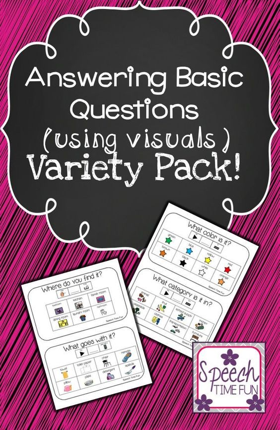 Speech Time Fun: Answering Basic Questions (using visuals) variety pack!  Students benefit from repetition, visual aids, sentence strips, and engaging activities!!