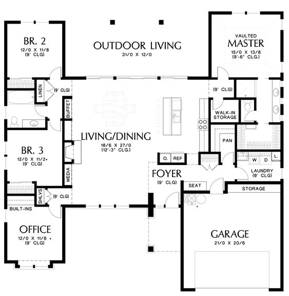 Mascord House Plan 1247a Home House Plans And Pantry