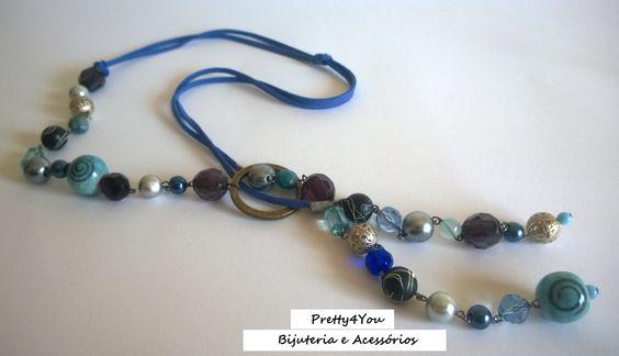 Fio em tons de azuis - Pretty4You Bijuteria.