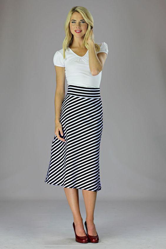 Knit Midi A Line Modest Skirt In Black White Stripes | Dress ...