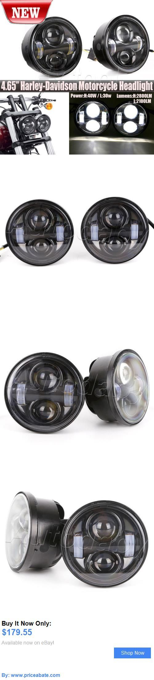 motorcycle parts: 2Pcs Black 80W 4.65 For Harley Davidson Dyna Glide Fat Bob Led Headlight Lights BUY IT NOW ONLY: $179.55 #priceabatemotorcycleparts OR #priceabate