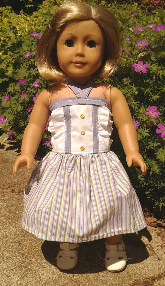 American Girl Doll Clothes_Purple Striped Summer by SewMimi715, $10.00