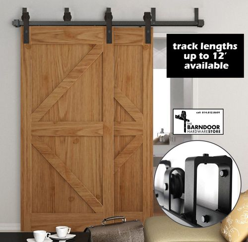 Double Track Bypass Sliding Barn Door Hardware Kit For Two Doors Low Profile 22 Shipping Double Sliding Barn Doors Barn Doors Sliding Bypass Barn Door