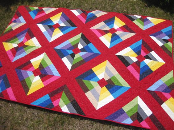 Modern quilt geometric bright color solids by OliveStreetStudio Our 5th Entry into the June for July Quilt of the Month Contest!