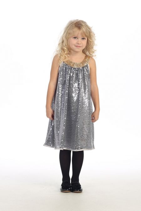 Silver Sleeveless Sequence Flower Girl Dress  AG-DR3092-SV on www.GirlsDressLine.Com