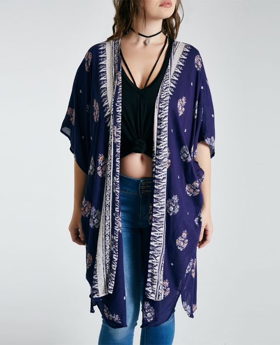 Plus Size Ornate Print Duster Kimono Plus Size Ornate Print Duster Kimono