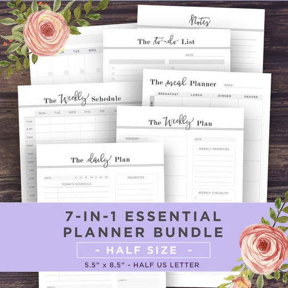 HALF SIZE Planner Pages 5.5 X 8.5 Planner by PrintablePineapple