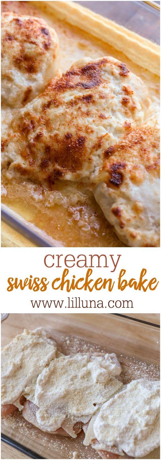 Delicioso cremoso suiza pollo Hornear - una forma sencilla y deliciosa receta de la cena que incluye queso suizo y parmesano.
