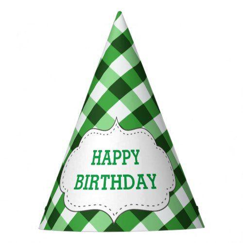 Elegant Green Gingham Pattern Customized Birthday Party Hat Zazzle Com Birthday Party Hats Elegant Birthday Party Party Hats