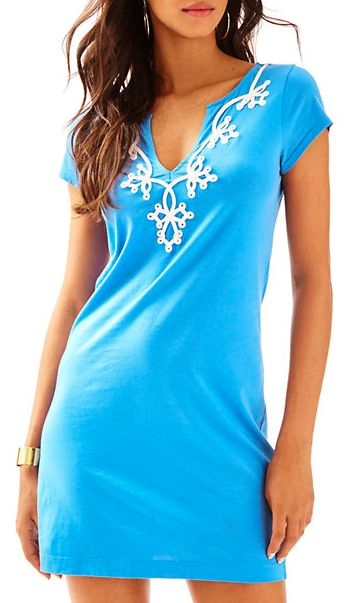 bright blue detailed shirt dress - Lilly Pulitzer