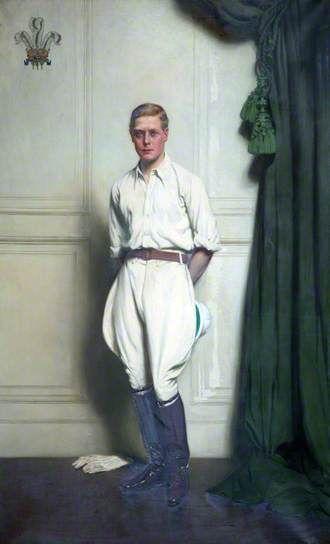 Portrait of HRH Edward, Prince of Wales, 1923 by John Saint-Helier Lander (1869-1944). Polo gear, I guess...