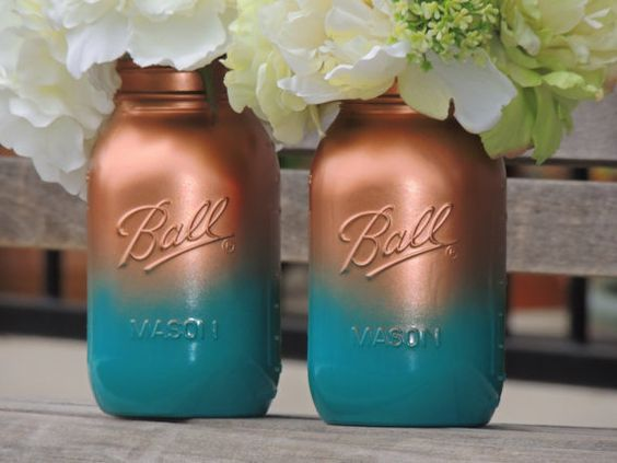 Turquoise and copper ombre painted mason wedding mason