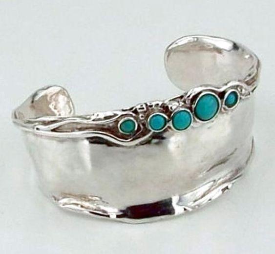 ISRAELI Turquoise Massive Wide 925 Sterling Silver by hadarjewelry, $273.00