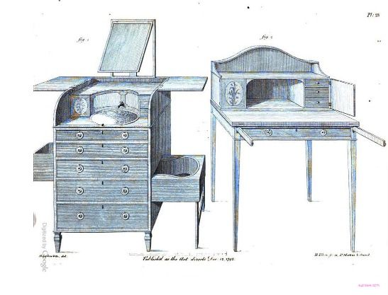 Two Desks With Complicated Compartments. From:  1788 Cabinetmaker Dressing Table Rounded.  From:  1788  The Cabinet Makers London Book Of Prices. via Google Books   (PD200)    suzilove.com