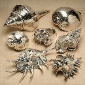 You can make this! Spray paint large sea shells with silver paint and clear high gloss.: