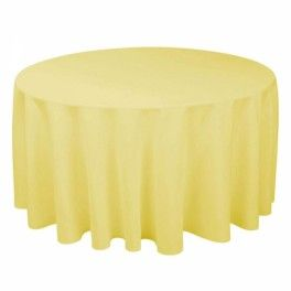 Buttercup yellow tablecloths for the rounds