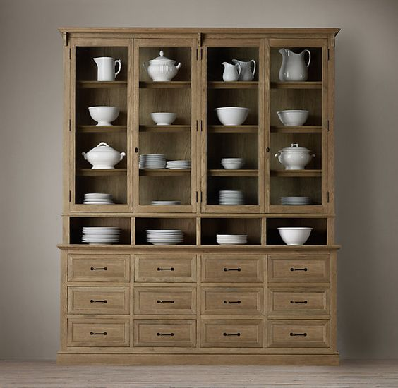 Apothecary display cabinet wood shelving cabinets restoration hardware 79 w x 17 d x 94 h - Restoration hardware cabinets ...